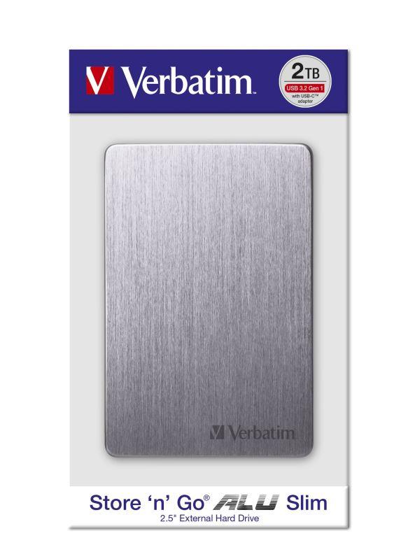 "HDD 2.5"" 2TB USB 3.2/USB-C Gen 1 ALU Slim šedý, externí disk Store 'n' Go Verbatim"