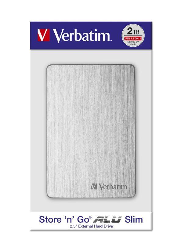 "HDD 2.5"" 2TB USB 3.2/USB-C Gen 1 ALU Slim stříbrný, externí disk Store 'n' Go Verbatim"