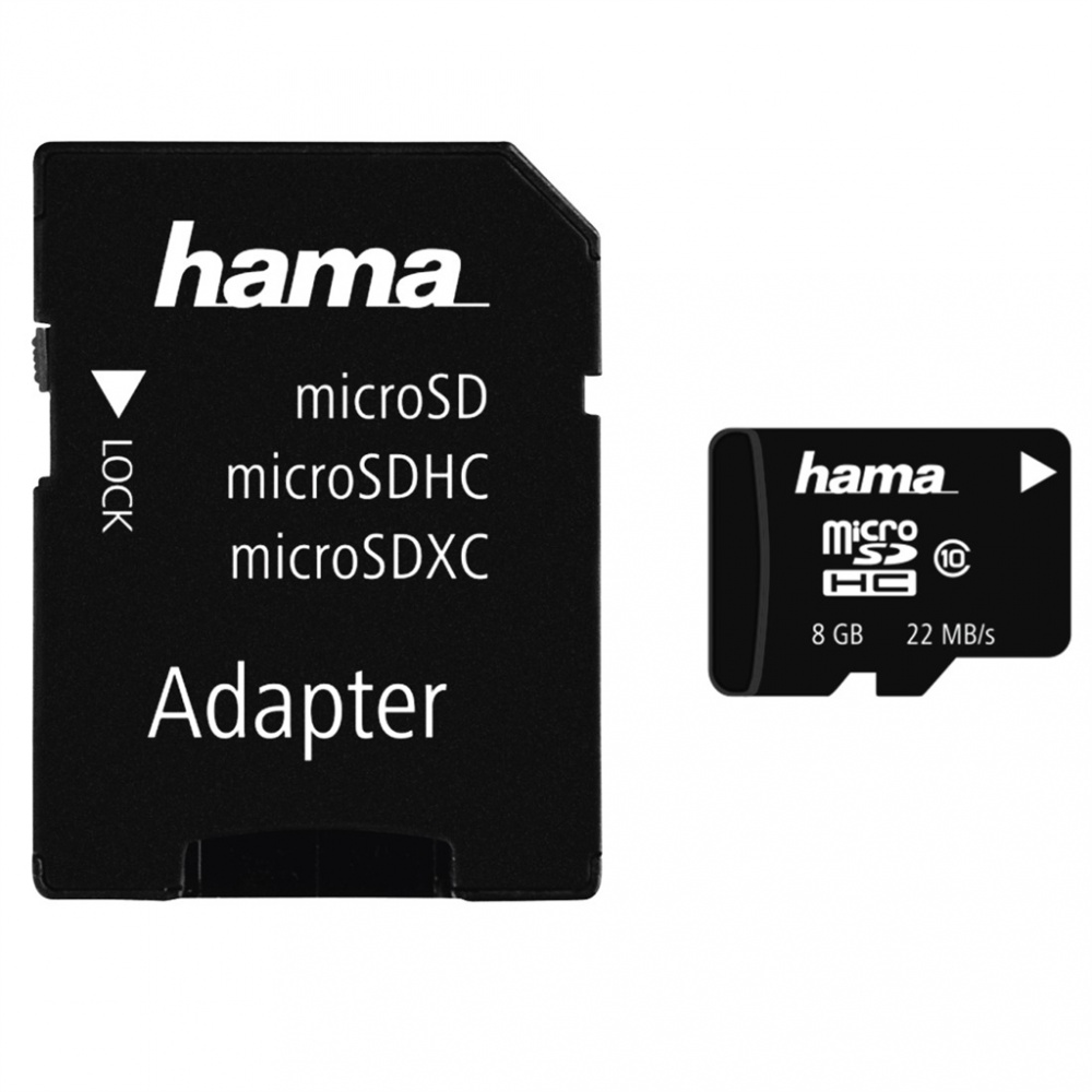 Hama micro SDHC 8 GB Class 10 + Adapter / Mobile 22 MB/s