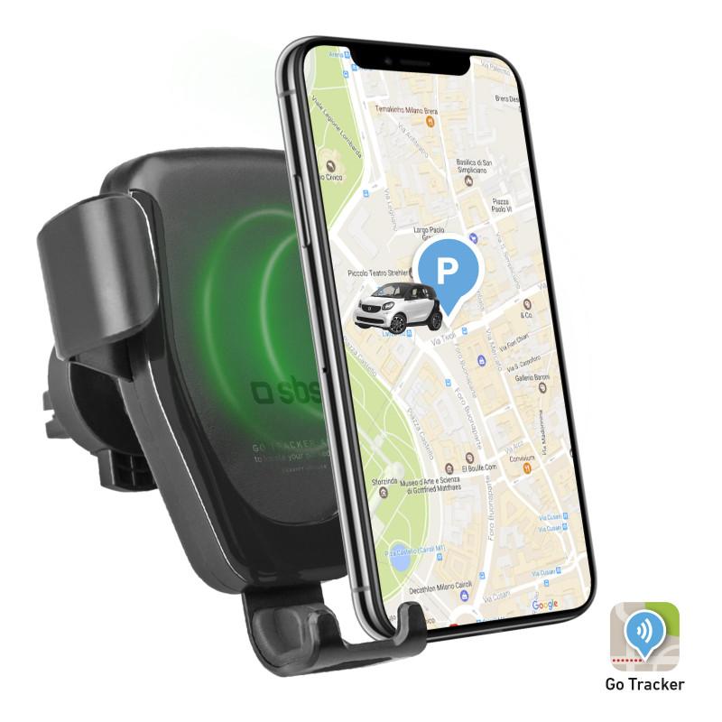 SBS - Držiak do auta, s bezdrôtovým nabíjaním a GPS, do mriežky, 10W, čierna