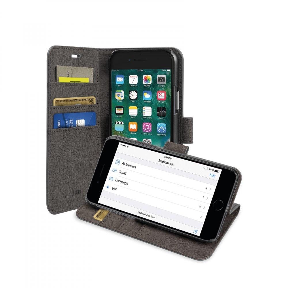 SBS - Puzdro Book Wallet pre iPhone SE 2020/8/7, čierna