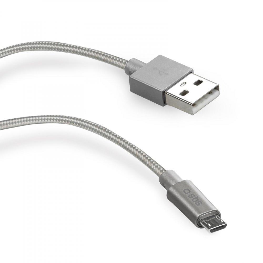 SBS - Kábel USB/Micro-USB opletený s kovovými koncovkami, 1 m, strieborná