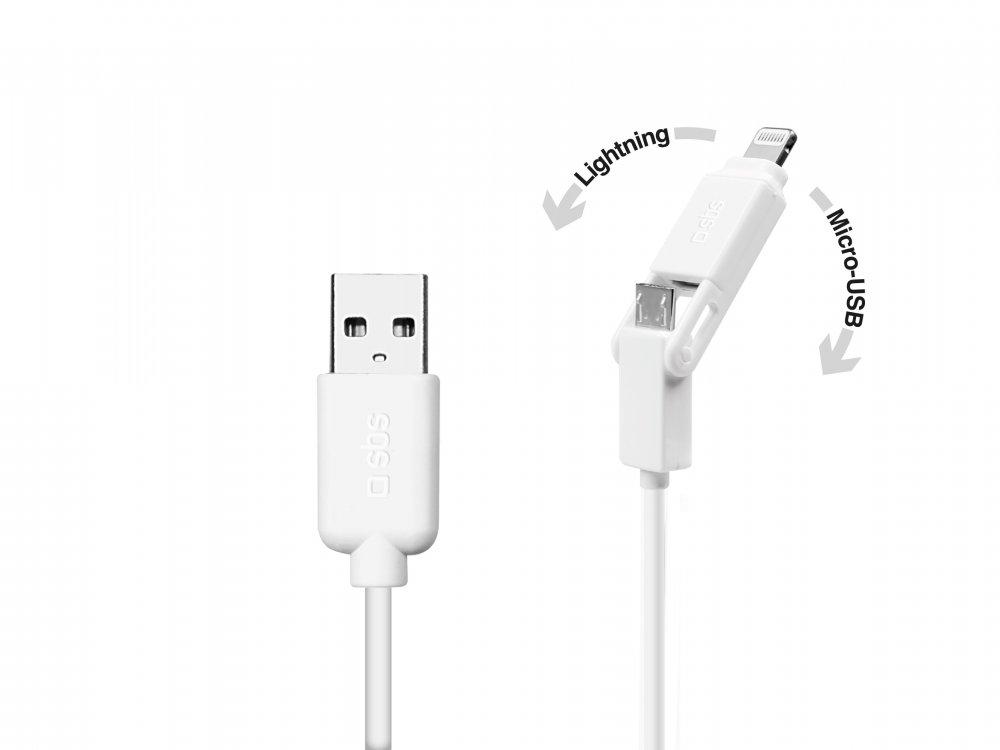 SBS - Kábel USB/MFI Lightning/Micro-USB, 1 m, biela