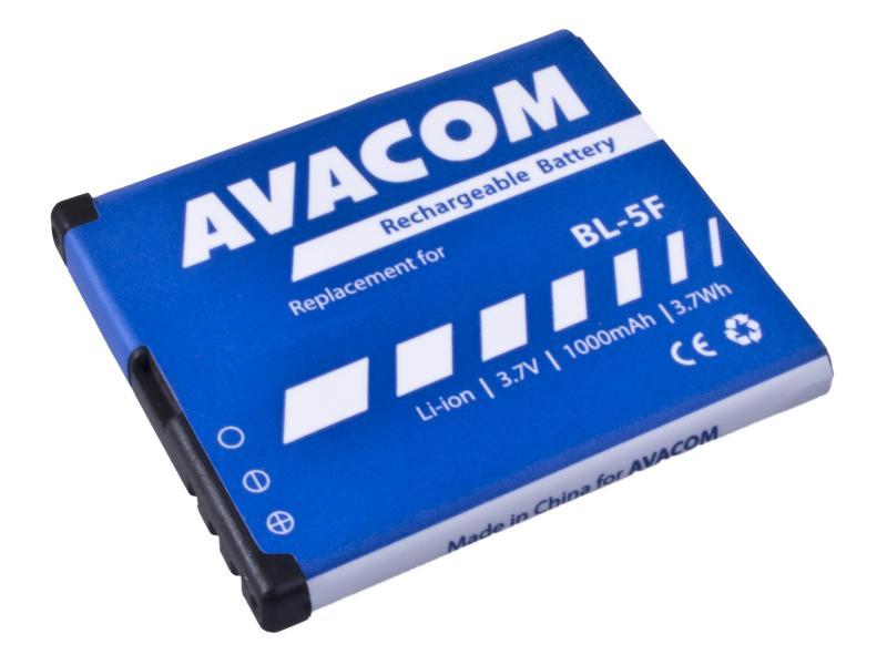 Avacom batéria pre Nokia N95, E65, Li-Ion, 3.6V, GSNO-BL5F-S1000A, 1000mAh, 3.6Wh, náhrada za BL-5F