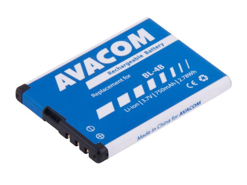 Avacom batéria do mobilu pre Nokia 6111, Li-Ion, 3.7V, GSNO-BL4B-S750, 750mAh, 2.8Wh, náhrada BL-4B