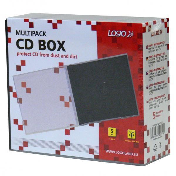 Box na 1 ks CD, priehľadný, čierny tray, Logo, 10,4 mm, 5-pack