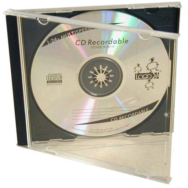 Box na 1 ks CD, priehľadný, čierny tray, Logo, 10,4 mm, 2-pack