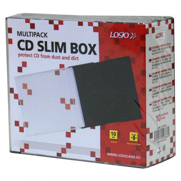 Box na 1 ks CD, priehľadný, čierny tray, tenký, Logo, 5,2mm, 10-pack
