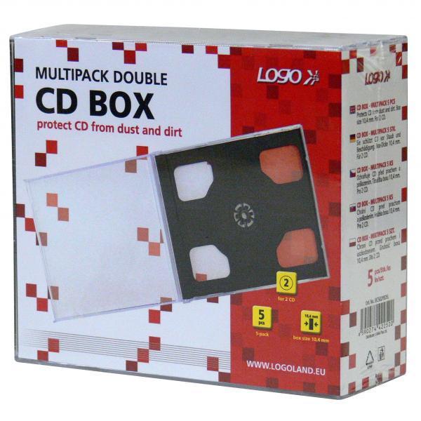 Box na 2 ks CD, priehľadný, čierny tray, Logo, 10,4 mm, 5-pack