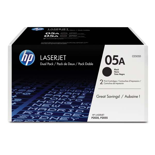 HP originál toner CE505D, black, 4600 (2x2300)str., HP 05A, HP LaserJet P2035, 2055, 2ks, O