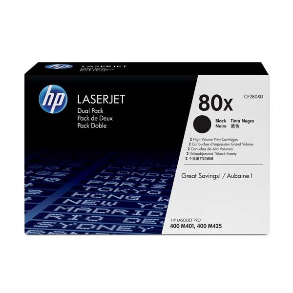 HP originál toner CF280XD, black, 6900str., HP 80X, HP LaserJet+, N, dual pack, 2000g, O