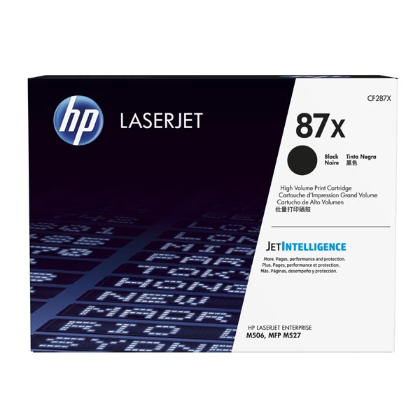 HP originál toner CF287X, black, 18000str., HP 87X, high capacity, HP LJ Enterprise M506, HP LJ Pro MFP M527, M501n, 1230g, O