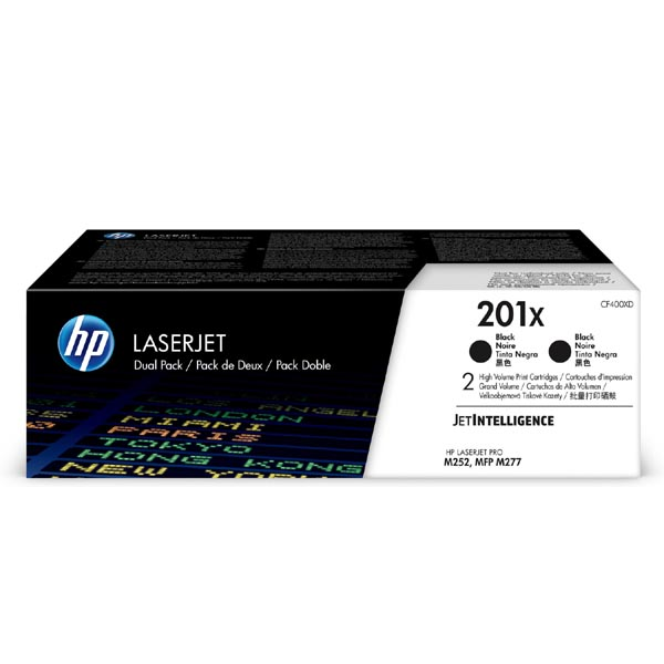 HP originál toner CF400XD, black, 5600 (2x2800)str., HP 201X, HP Color LaserJet MFP M277, Pro M252, M274, dual pack, 2x770g, O