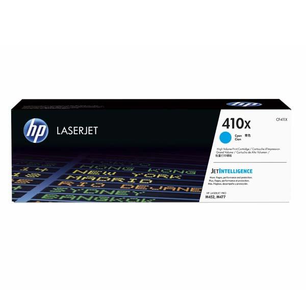 HP originál toner CF411X, cyan, 5000str., HP 410X, high capacity, HP LJ Pro M452, LJ Pro MFP M477, 650g, O