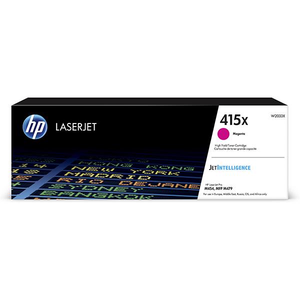 HP originál toner W2033X, magenta, 6000str., HP 415X, high capacity, HP Color LaserJet Pro M454, MFP M479, O