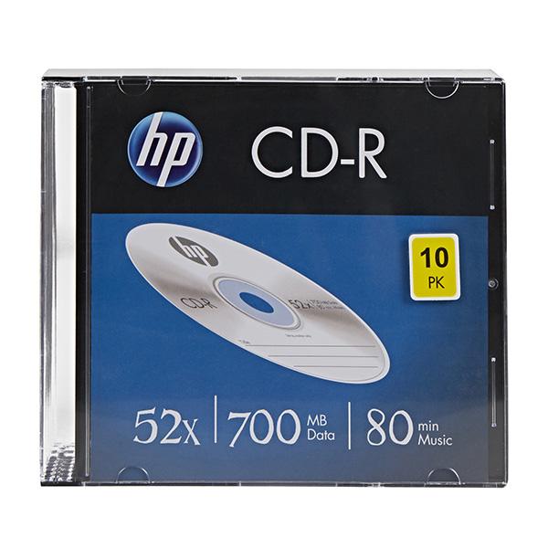 HP CD-R, CRE00085-3, 69310, 10-pack, 700MB, 52x, 80min., 12cm, bez možnosti potlače, slim case, Standard, pre archiváciu dát