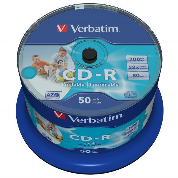 Verbatim CD-R, 43438, DataLife PLUS, 50-pack, 700MB, Azo, 52x, 80min., 12cm, Inkjet, Wide Printable-No ID Brand, cake box, Standar