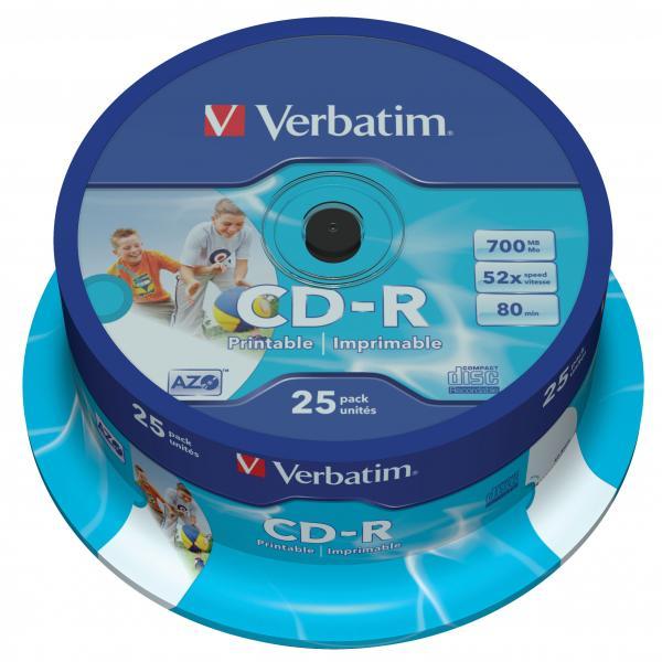 Verbatim CD-R, 43439, DataLife PLUS, 25-pack, 700MB, Super Azo, 52x, 80min., 12cm, Printable, cake box, Standard, pre archiváciu d