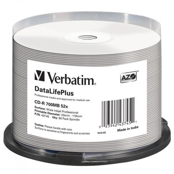 Verbatim CD-R, 43745, DataLife PLUS, 50-pack, 700MB, 52X, Professional, 80min., 12cm, Wide Inkjet Professional, Printable, cake bo