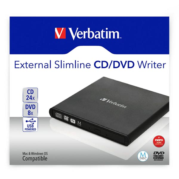 Verbatim 98938, externí CD/DVD mechanika, rýchlosť CD(24x) DVD (8x) technológia MDISC (tm)
