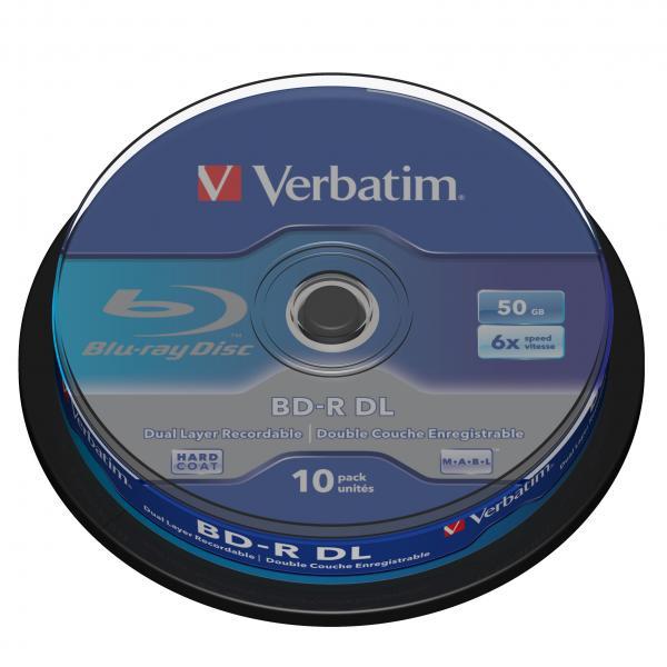 Verbatim BD-R, Dual Layer 50GB, cake box, 43746, 6x, 10-pack, pre archiváciu dát