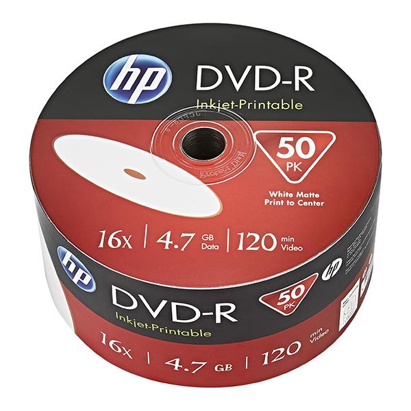 HP DVD-R, DME00070WIP-3, 69302, 50-pack, 4.7GB, 16x, 12cm, bulk, Printable, pre archiváciu dát