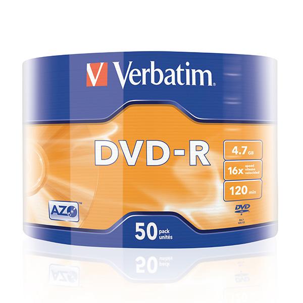 Verbatim DVD-R, 43788, 50-pack, 4.7GB, 16x, 12cm, Matt Silver, wrap, Azo+, pre archiváciu dát