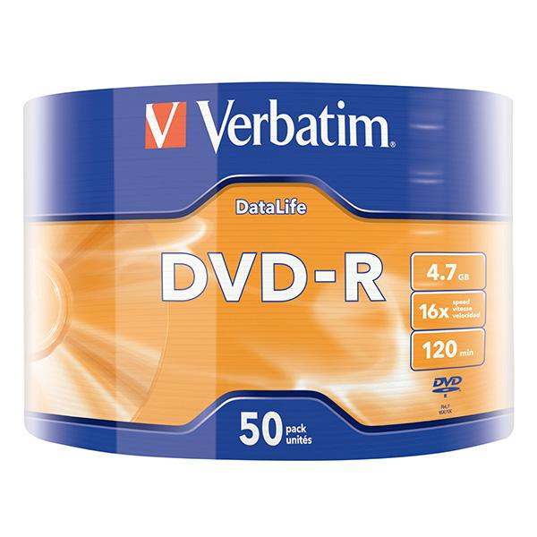Verbatim DVD-R, 43791, DataLife, 50-pack, 4.7GB, 16x, 12cm, Matt Silver, wrap, pre archiváciu dát