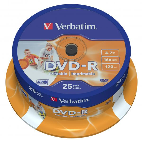 Verbatim DVD-R, 43538, DataLife PLUS, 25-pack, 4.7GB, 16x, 12cm, General, Advanced Azo+, cake box, Wide Printable, pre archiváciu