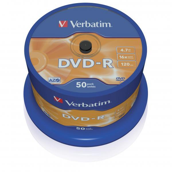 Verbatim DVD-R, 43548, DataLife PLUS, 50-pack, 4.7GB, 16x, 12cm, General, Advanced Azo+, cake box, Scratch Resistant, bez možnosti