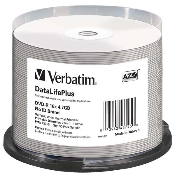 Verbatim DVD-R, 43755, DataLife PLUS, 50-pack, 4.7GB, 16x, 12cm, Professional, Advanced Azo+, cake box, Wide Thermal Printable, pr