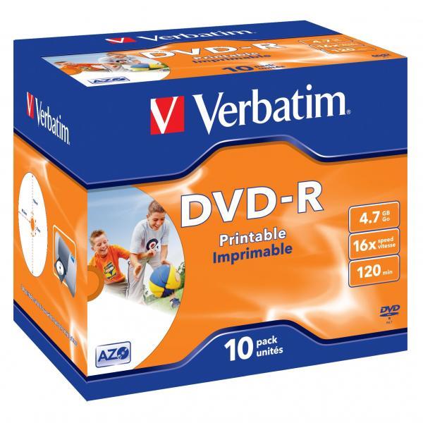Verbatim DVD-R, 43521, DataLife PLUS, 10-pack, 4.7GB, 16x, 12cm, General, Advanced Azo+, jewel box, Wide Printable, pre archiváciu