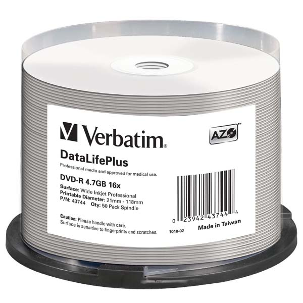 Verbatim DVD-R, 43744, DataLife PLUS, 50-pack, 4.7GB, 16X, 12cm, General, Wide Printable Surface Non-ID, cake box, Printable, pre