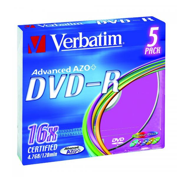 Verbatim DVD-R, 43557, DataLife PLUS, 5-pack, 4.7GB, 16x, 12cm, General, Advanced Azo+, slim box, Colour, bez možnosti potlače, pr
