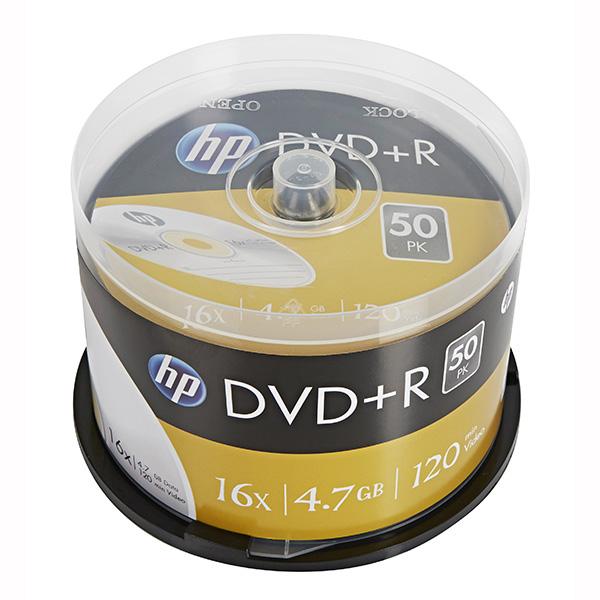 HP DVD+R, DRE00026-3, 50-pack, 4.7GB, 16x, 12cm, cake box, bez možnosti potlače, pre archiváciu dát