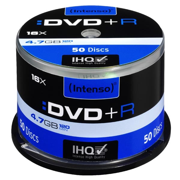 Intenso DVD+R, 4111155, 50-pack, 4.7GB, 16x, 12cm, Standard, cake box, pre archiváciu dát