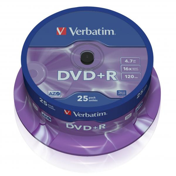 Verbatim DVD+R, 43500, DataLife PLUS, 25-pack, 4.7GB, 16x, 12cm, General, Advanced Azo+, cake box, Scratch Resistant, bez možnosti