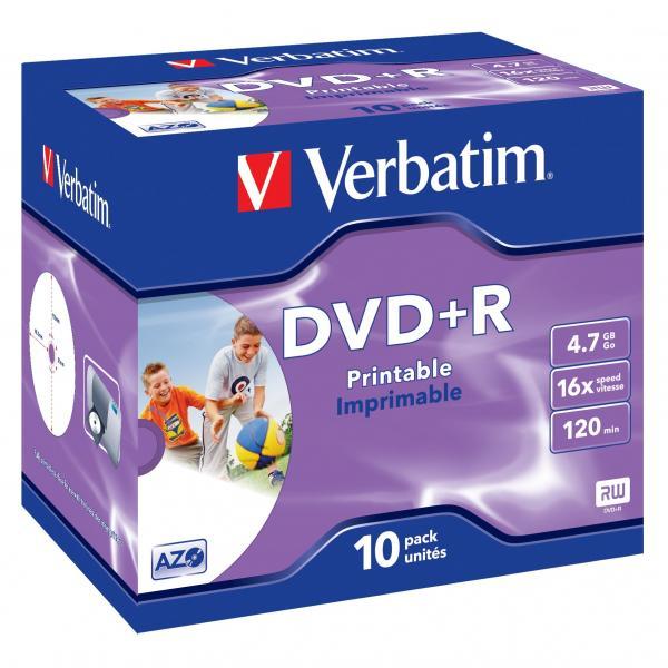 Verbatim DVD+R, 43508, DataLife PLUS, 10-pack, 4.7GB, 16x, 12cm, General, Advanced Azo+, jewel box, Wide Printable, pre archiváciu