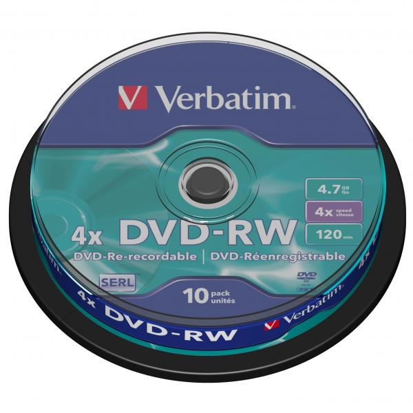 Verbatim DVD-RW, 43552, DataLife PLUS, 10-pack, 4.7GB, 4x, 12cm, General, Serl, cake box, Scratch Resistant, bez možnosti potlače,