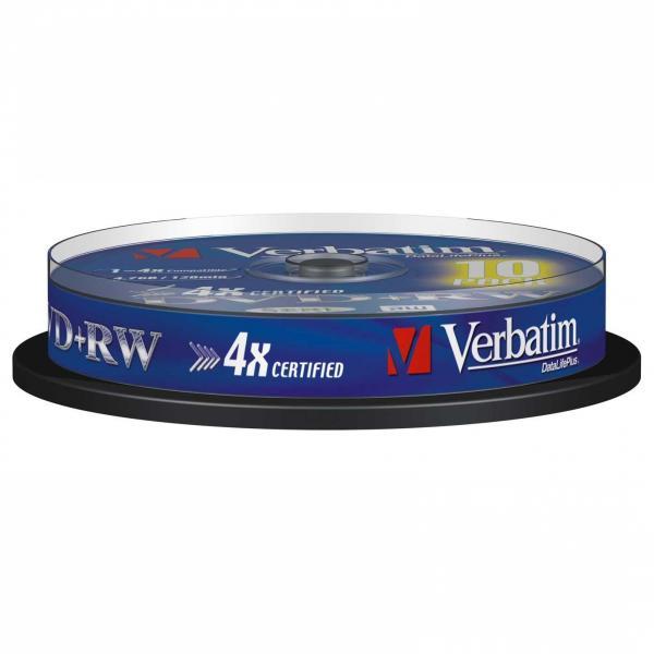 Verbatim DVD+RW, 43488, DataLife PLUS, 10-pack, 4.7GB, 2-4x, 12cm, General, Standard, cake box, Scratch Resistant, bez možnosti po