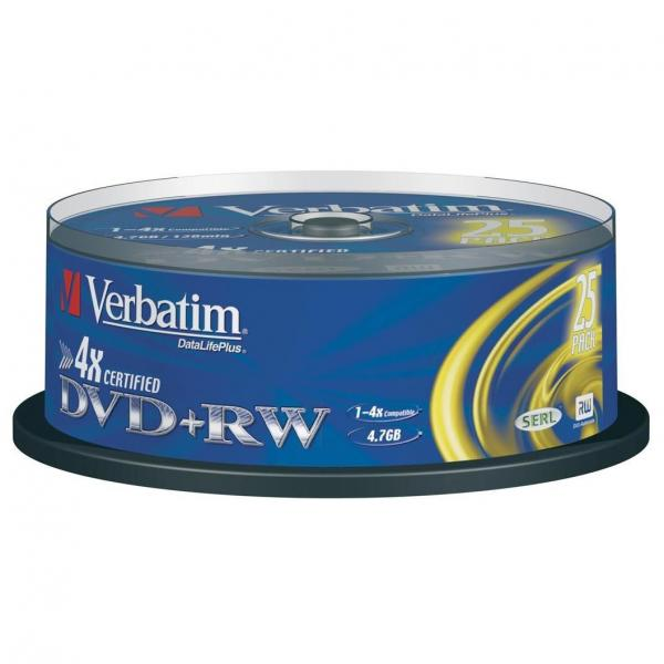 Verbatim DVD+RW, 43489, DataLife PLUS, 25-pack, 4.7GB, 4x, 12cm, General, Standard, cake box, Scratch Resistant, bez možnosti potl