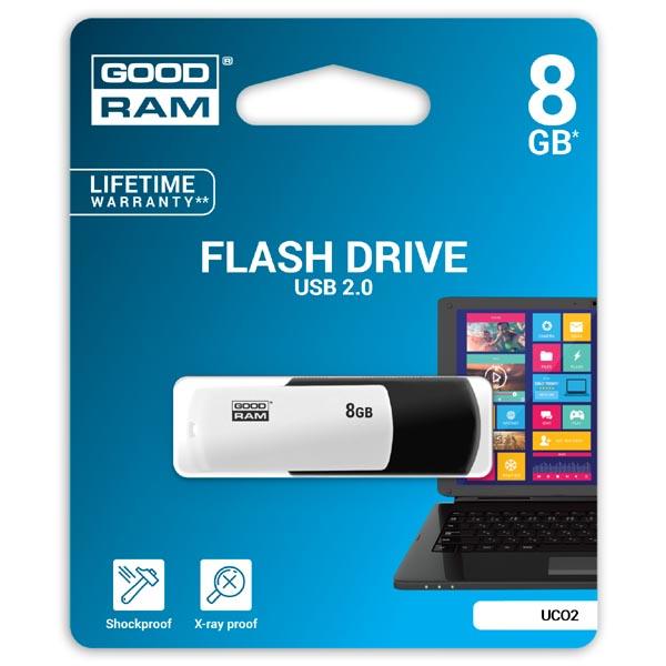 Goodram USB flash disk, USB 2.0, 8GB, UCO2, čierny, UCO2-0080KWR11, USB A, s otočnou krytkou