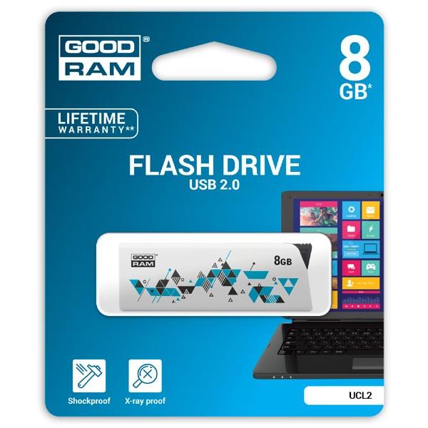 Goodram USB flash disk, USB 2.0, 8GB, UCL2, biely, UCL2-0080W0R11