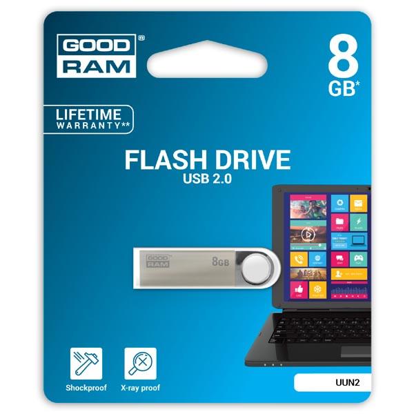 Goodram USB flash disk, USB 2.0, 8GB, UUN2, strieborný, UUN2-0080S0R11, USB A, s pútkom