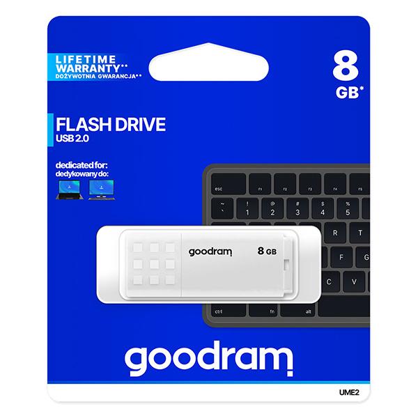 Goodram USB flash disk, USB 2.0, 8GB, UME2, biely, UME2-0080W0R11, USB A, s krytkou