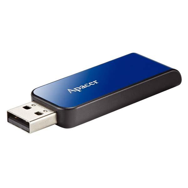 Apacer USB flash disk, USB 2.0, 16GB, AH334, modrý, AP16GAH334U-1, USB A, s výsuvným konektorom