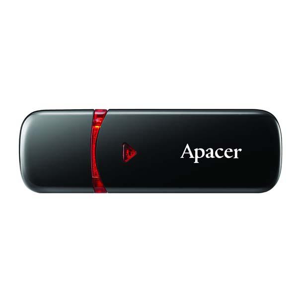Apacer USB flash disk, USB 2.0, 16GB, AH333, čierny, AP16GAH333B-1, USB A, s krytkou