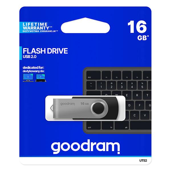 Goodram USB flash disk, USB 2.0, 16GB, UTS2, čierny, UTS2-0160K0R11, USB A, s otočnou krytkou