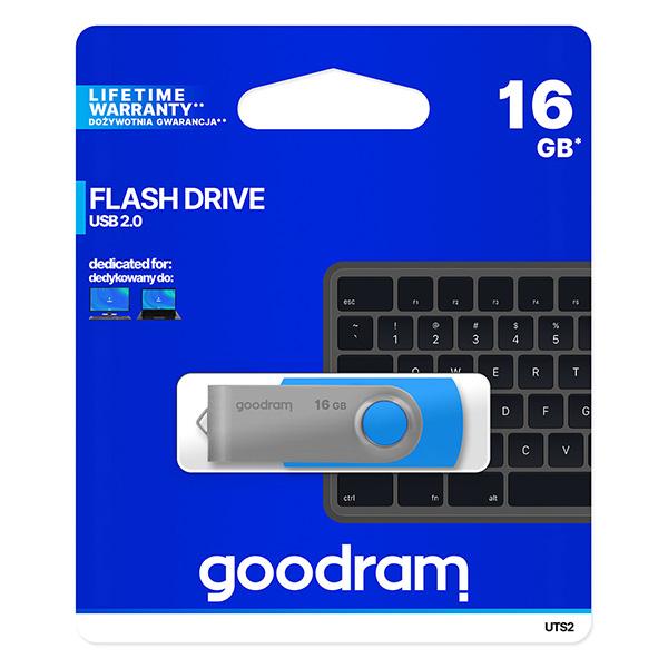 Goodram USB flash disk, USB 2.0, 16GB, UTS2, modrý, UTS2-0160B0R11, USB A, s otočnou krytkou