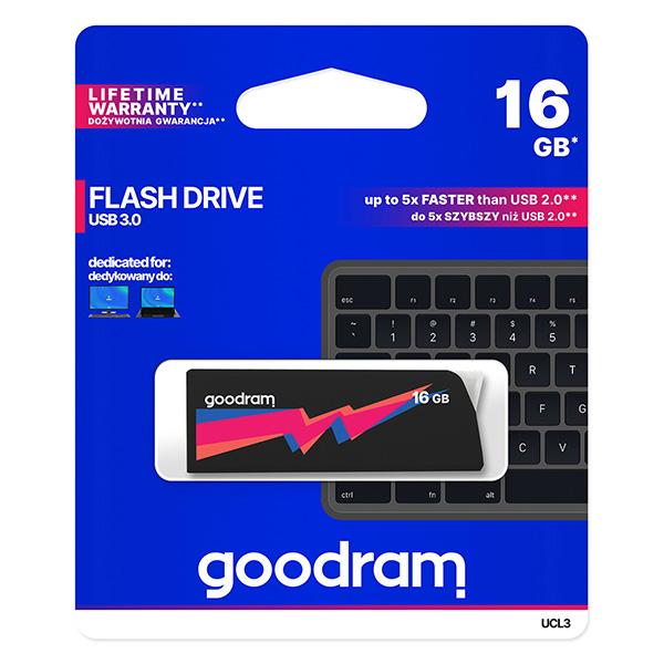 Goodram USB flash disk, USB 3.0 (3.2 Gen 1), 16GB, UCL3, čierny, UCL3-0160K0R11, USB A, s výsuvným konektorom